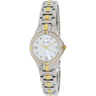 Bulova Women's Diamond 98R166 2-tone Stainless Steel Quartz Watch with Silver Dial