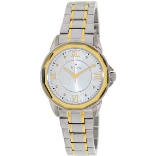 Bulova Women's Dress 98L166 2-tone Stainless Steel Quartz Watch with Silver Dial