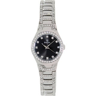 Bulova Women's Crystal 96L170 Silver Stainless Steel Quartz Watch with Black Dial