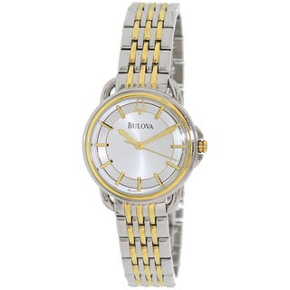 Bulova Women's Dress 98L165 2-tone Stainless Steel Quartz Watch with Silver Dial