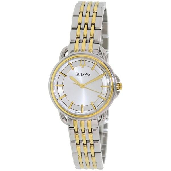 Bulova Women's Dress 98L165 2-tone Stainless Steel Quartz Watch with Silver Dial