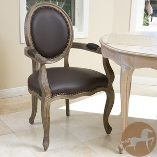 Christopher Knight Home 'Jacob' Brown Leather Weathered Oak Arm Chair