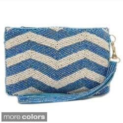 Handbeaded Chevron Pattern Wristlet Pouch Bag (India)