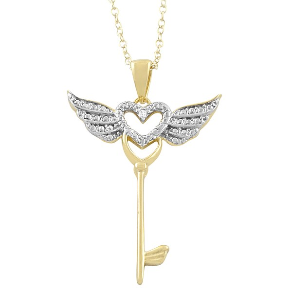 Fremada 14k Yellow Gold over Silver Diamond Accent Heart Key with Wings Necklace