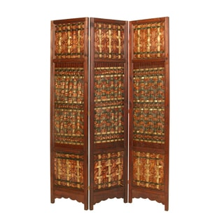 Palm 3-panal Woven Palm/ Brass Screen (China)