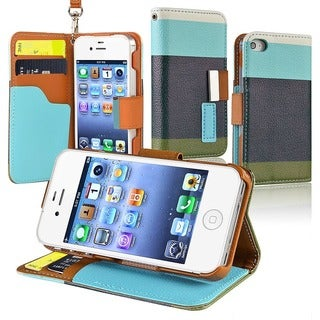 BasAcc Blue/ Black/ Green Leather Wallet Case for Apple iPhone 4/ 4S