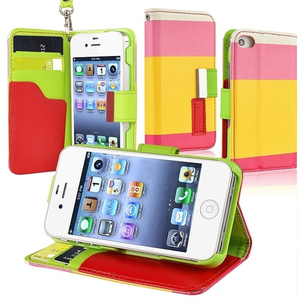 INSTEN Red/ Yellow/ Pink Leather Wallet Phone Case Cover for Apple iPhone 4/ 4S