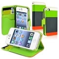 BasAcc Green/ Orange Leather Wallet Case for Apple iPhone 4/ 4S