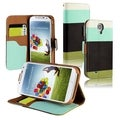 BasAcc Blue/ Black/ Green Leather Wallet Case for Samsung Galaxy S4