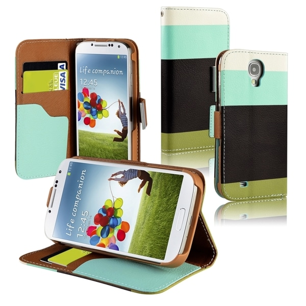 BasAcc Blue/ Black/ Green Leather Wallet Case for Samsung© Galaxy S4