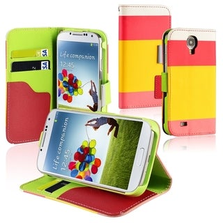 BasAcc Red/ Yellow/ Pink Leather Wallet Case for Samsung� Galaxy S4