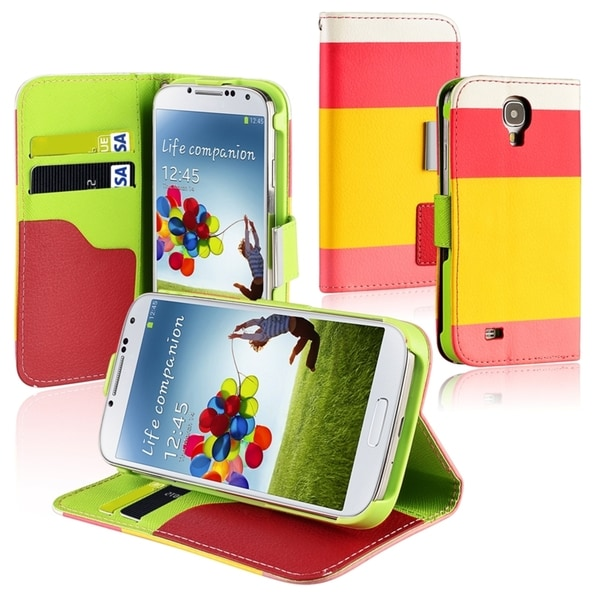 BasAcc Red/ Yellow/ Pink Leather Wallet Case for Samsung© Galaxy S4