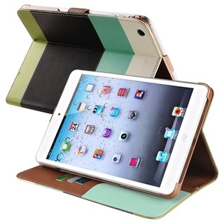 BasAcc Blue/ Black/ Green Leather Wallet Case for Apple iPad Mini
