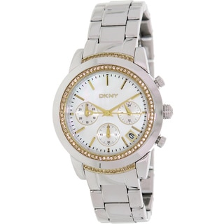 DKNY Women's 'NY8588' Silvertone Stainless Steel Mother-of-Pearl Dial Quartz Watch