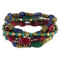Handcrafted Set of Six Antiqued Gold and Stone Stretch Bracelets (India)