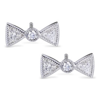 Annello 14k White Gold 1/2 ct TDW Diamond Bow Earrings