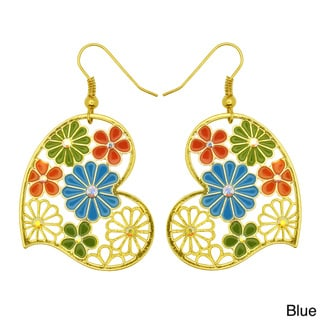 Kate Marie Goldtone Multi-colored Vintage Floral Earrings