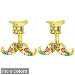 Kate Marie Goldtone Colored Rhinestone Hat and Mustache Earrings