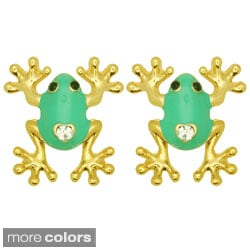 Kate Marie Goldtone Rhinestone and Colored Enamel Frog Earrings
