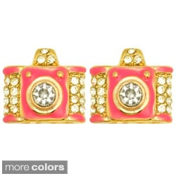Kate Marie Goldtone Rhinestone and Colored Enamel Camera Earrings