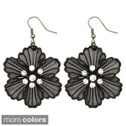 Kate Marie Plated Rhinestone Vintage Floral Fashion Earrings
