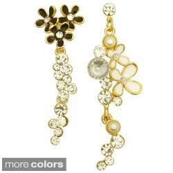 Kate Marie Goldtone Rhinestone Asymmetrical Floral Earrings