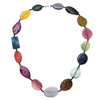Sterling Silver Polished Agate Necklace