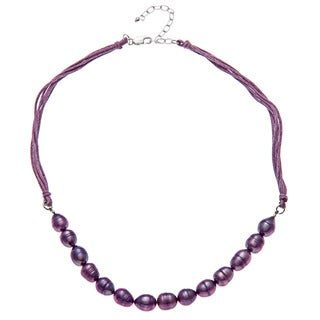 Sterling Silver Purple Cultured FW Pearl Necklace (7-8mm)