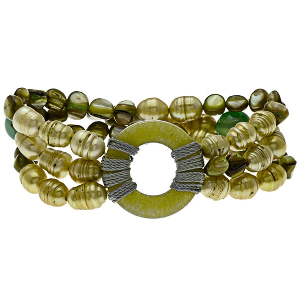 Green Pearl, Agate, and Quartzite Stretch Bracelet