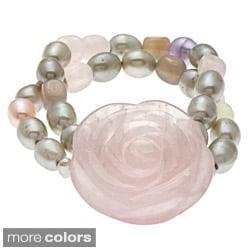 Multi-Colored Pearl and Quartz Flower Bracelet
