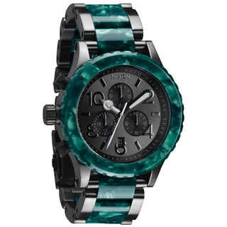 Nixon Men's '42-20 Chrono' Gunmetal/ Emerald Acetate Watch