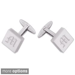Stainless Steel Engraved Square Cuff Links