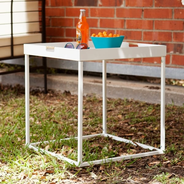 Upton Home Almaden White Indoor Outdoor Butler Accent Table