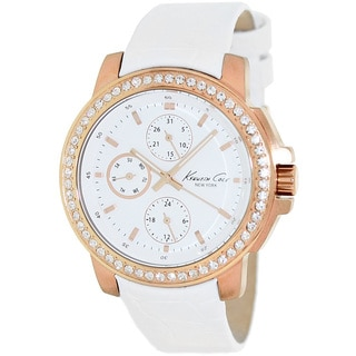 Kenneth Cole Women's White Calfskin Leather Strap Watch