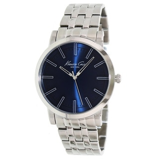 Kenneth Cole Men's Silvertone/ Blue Stainless Steel Watch