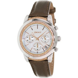 DKNY Women's NY8586 Brown Leather Analog Quartz Watch with Mother of Pearl Dial