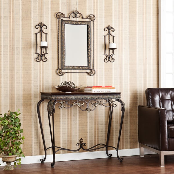 Entryway Foyer Console Table Amp Mirror Set : Bransten console mirror sconce entryway piece set coffee