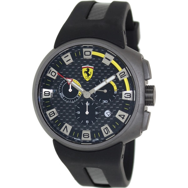 Ferrari Men's FE-10-GUN-CG/FC-FC Black Rubber Swiss Chronograph Watch with Black Dial
