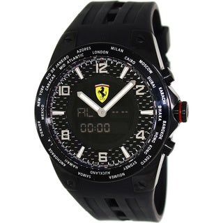 Ferrari Men's FE-05-IPB-FC Black Rubber Swiss Multifunction Watch with Black Dial