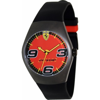 Ferrari Men's FW05 Black Rubber Analog Quartz Watch with Red Dial