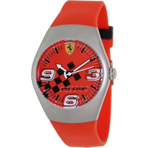 Ferrari Men's FW01 Red Rubber Analog Quartz Watch with Red Dial