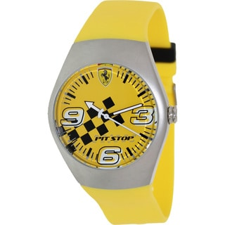 Ferrari Men's FW02 Yellow Rubber Analog Quartz Watch with Yellow Dial
