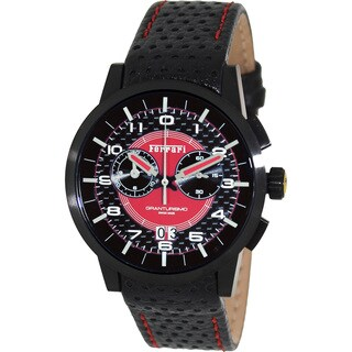 Ferrari Men's FE-11-IPB-CP-RD Black Leather Swiss Chronograph Watch with Red Dial