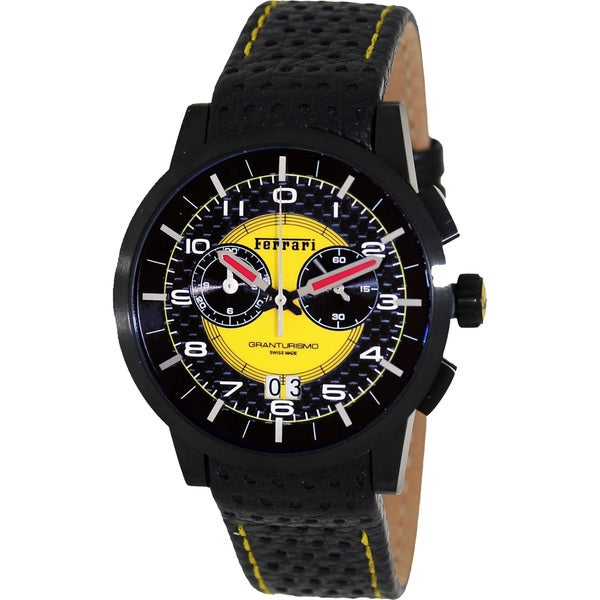 Ferrari Men's FE-11-IPB-CP-YW Black Leather Swiss Chronograph Watch with Yellow Dial