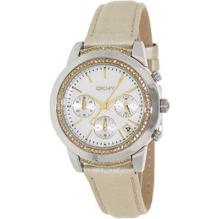 DKNY Women's NY8584 Gold Leather Analog Quartz Watch with Mother of Pearl Dial