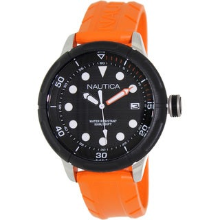 Nautica Men's 'Nmx 600 N16598G' Orange Rubber Black Dial Quartz Watch