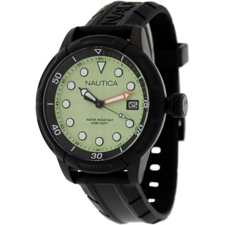 Nautica Men's 'Nmx601 N17618G' Black Silicone Green Dial Quartz Watch