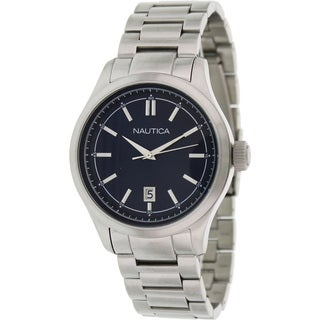 Nautica Men's 'Bfd 104 N14628G' Silvertone Stainless Steel Blue Dial Quartz Watch