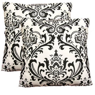 EORC Black & White Damask 18-inch Decorative Cotton Pillows (Set of 2)