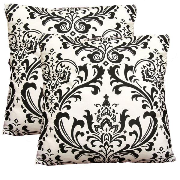 EORC Black & White Damask 18-inch Decorative Cotton Pillows (Set of 2)